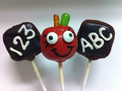 Teachers Week Apple and Chalk Board Cake Pops