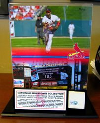 St. Louis Cardinals Albert Pujols 185th Assist Record Piece of Game-Used 1st Base