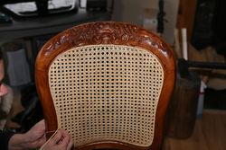 Hand Cane Antique Carved Chair Back