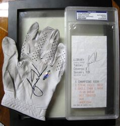 Tiger Woods Upper Deck Authenticated Tourney Worn and Signed Glove with Signed 2002 Masters Lunch Receipt