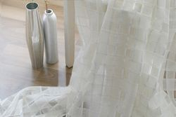 Trellis Rod Pocket 96-inch Linen Sheer Curtain Panel