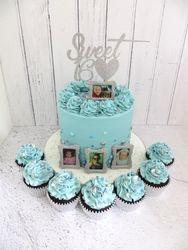 Sweet 16 Birthday Cake with matching cupcakes