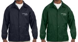 Lined Jackets, Navy Blue or Hunter Green. Nylon Shell + Polyester Lining - Water Resistant - Elastic Cuffs - Snap Opening