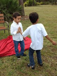 High fiving cousin Roro