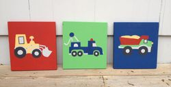 Set of 3 wooden Truck plaques