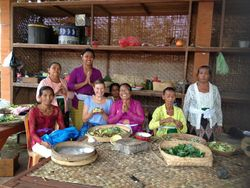Sharon with the Goddesses of Batuan Temple