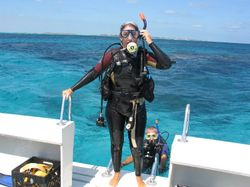 Climbing aboard after the first dive