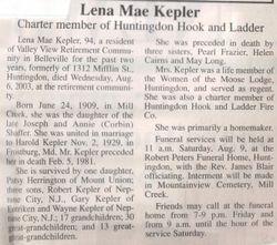 Kepler, Lena Mae Shaffer 2003