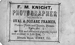 F. M. Knight, photographer of Henry, Illinois - back