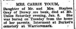 Yocum, Carrie Gray 1909