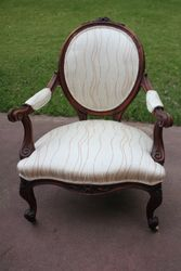 Recovered Grandfather chair for a customer in Monteray