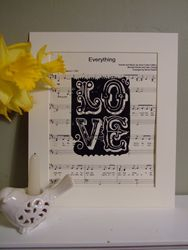 Love poster on personalised sheet music