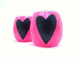 Shocking Pink and Black Folk Heart