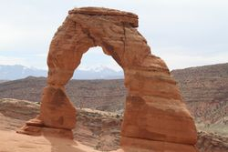 Delicate Arch in Arches N.P. It is no delicate hike to the top of the hill to see it.