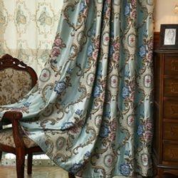 Luxury Jacquard Geometric Curtains Drapes-96L