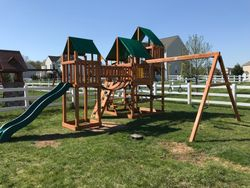 Gorilla treasure trove 1 cedar swing set installation in chantilly VA