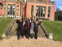 Outside the grounds of Wroxall Abbey