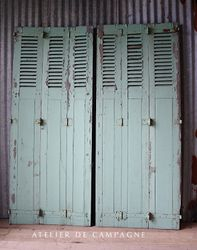 #27/135 FRENCH PAIR OF GREEN SHUTTERS