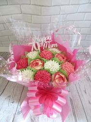 Pink and white 70th birthday bouquet