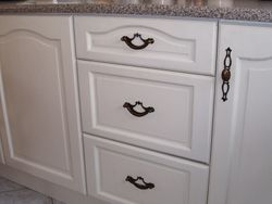 Kitchen cupboards painted in ivory lace