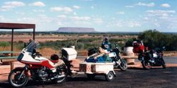 Tom's XJ900 in front Mt Connor on the Ayres Rock Road after the 1994 AGM at Alice Springs - April 1994