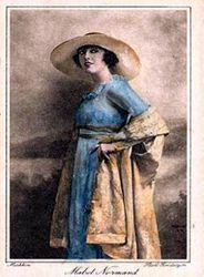 Mabel in tinted postcard