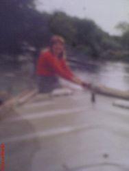 Me Steering our narrowboat , many years ago.