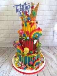 30th birthday colourful drip cake