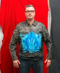"""RESIST jacket"" painted by the artist 2020. front view"
