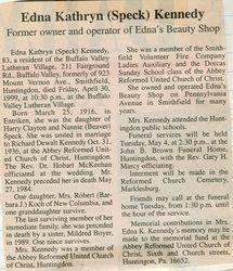 Kennedy, Edna Kathryn Speck 1999