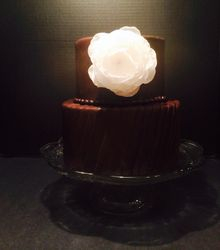 2 Tiered Pleated Fondant Cake with Flower