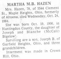 Hazen, Martha Bigelow 1984