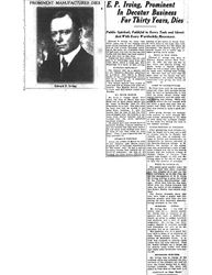 Death of Mr. Irving - August 16, 1923 - Article