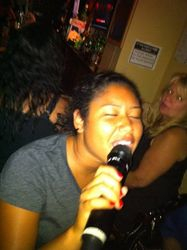 "We finally got Ashlly on the mic and in a pic at Legendary Friday Night Karaoke! We ""Love the Way You Lie"" Ashlly!! LOL"