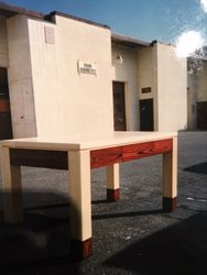 Natural Ash table with drawer in Burgundy stained apron