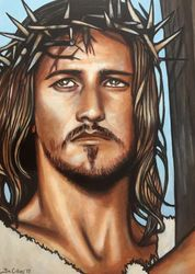 """Jesus Christ Superstar"", ""Jesus Christ"",""Ted Neeley"", ""musical"", ""Tim Rice"", Andrew Llyod Webber"",""Norman Jewison"",  acrylic on canvas, by Fin Collins, part of The Film Icons Collection www.filmiconsgallery.com"