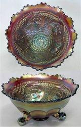 Horse Medallion ftd nut bowl, red slag