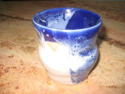 Glazed Pot with Cobalt & White