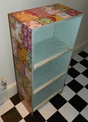 Small bookcase with decoupaged flowers