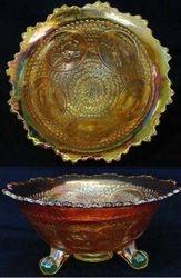 Horse Medallion ftd nut bowl, vaseline