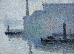 Pissarro, Ile Lacroix, Rouen, detail, Philadelphia
