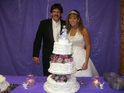 Great looking couple and cake.