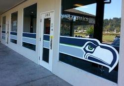 Seahawks Window Mural for Schaefers Bar & Grill Sumner, WA