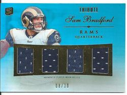 2010 TOPPS TRIBUTE SAM BRADFORD QUAD JERSEY ROOKIE CARD 8/30