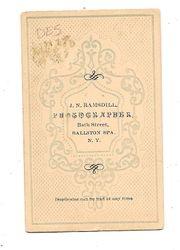 J. N. Ramsdell, hotographer of Ballston Spa, NY - back