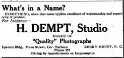 H. Dempt, photographer of Rocky Mount, NC