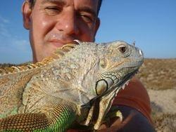 Man on beach with lizard