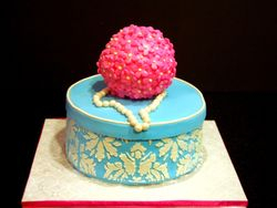 Blue damask birthday cake