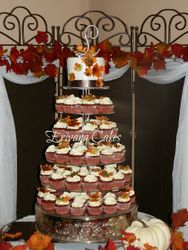 Fall themed wedding cupcake tower