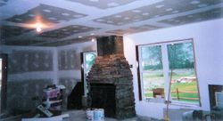 Stone Gas Fireplace under construction